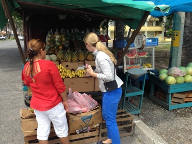 Heidi, buying some produce at 'our favorite' little stand in the city