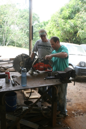 From last week, Jason fixing some sort of motor-doohickey with Mike