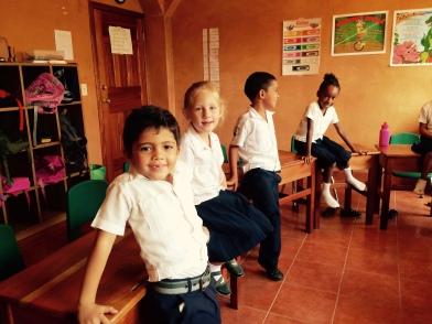 Juliet at El Camino Bilingual school with her classmates
